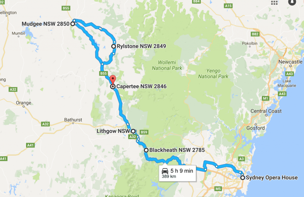 Sydney to Mudgee